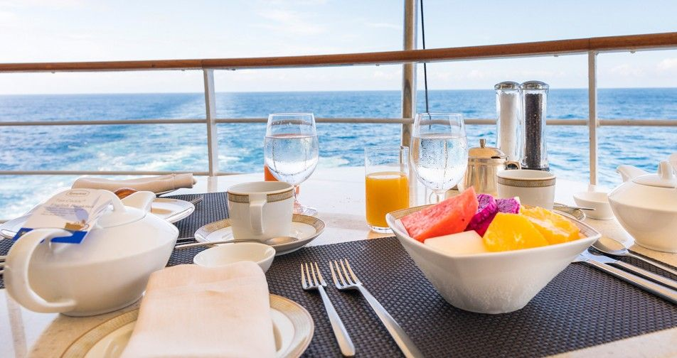 Nicely prepared breakfast with a view of the sea